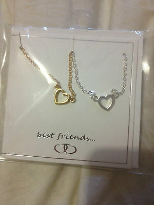 Equip Double Hearts  Bff Best Friends Necklace Bnwt Free Post (B79)