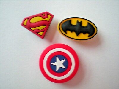 Jibbitz Shoe Charm Plug Buttons Fit Croc WristBands Bracelet Belts 3 SUPER HEROS