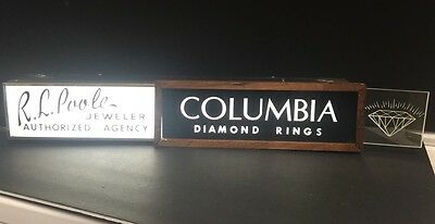 Vintage Lighted Columbia Diamond Poole Jeweler Jewelry Advertising Store Sign