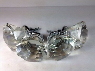 Lot Of 4 Vintage Style 8 Point Crystal Glass Large Knob Handle Pull