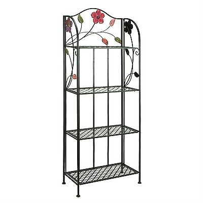 Bakers Rack Plant Stand  Beautiful Floral Accents Indoor Outdoor Durable Metal