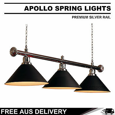 Premium Silver Rail + Black Heavy Duty Shades Pool Table Light Free Delivery