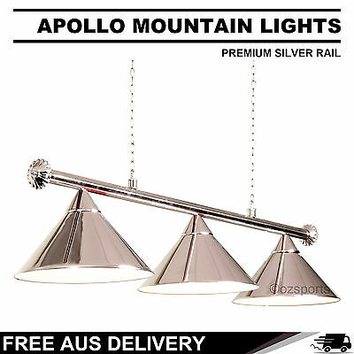 Premium Silver Rail + Silver Heavy Duty Shades Pool Table Light Free Delivery