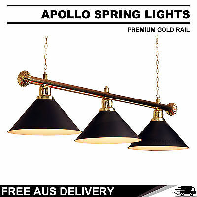 Premium Gold Rail + Black Heavy Duty Shades Pool Table Light Free Delivery