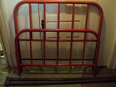Antique Red Wrought Iron Full Size Bed Frame and Rails