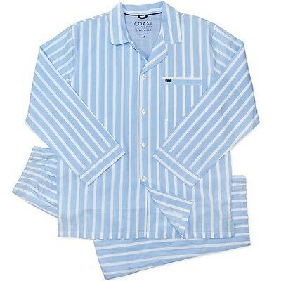 New Mens Blue Stripe Coast Cotton Long Pyjamas Sleepwear Size S-XL  RRP $59.99