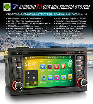 Radio Dvd Audi A4 S4 Seat Exeo Android 7.1  Bluetooth,gps, Hd, Mp4, Usb...