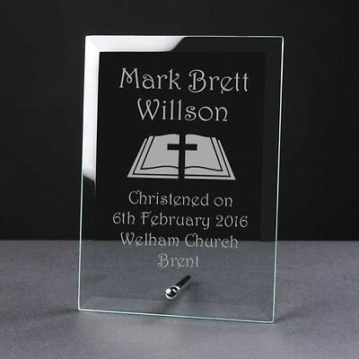 Christening Gift - Personalised Glass Plaque - Bible Birth Naming Day Baptism