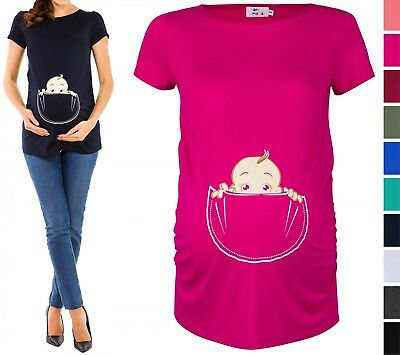 Happy Mama. Women's Maternity Baby in Pocket Print T-shirt Top Tee Shirt. 501p