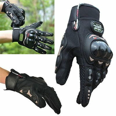 Motorcycle Riding Racing Bike Protective Armor Full Finger Leather Gloves L