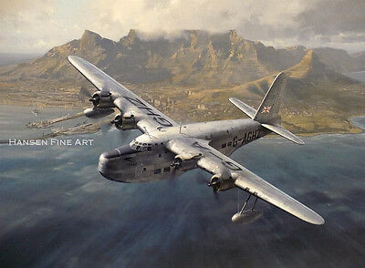 Short Sunderland Cape Town BOAC Aircraft Airliner Aviation Painting Art Print