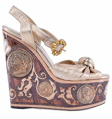 d1880a4028ea87 DOLCE   GABBANA RUNWAY Ancient Greece Plateau Wedge Sandals Shoes Gold Wood  0426