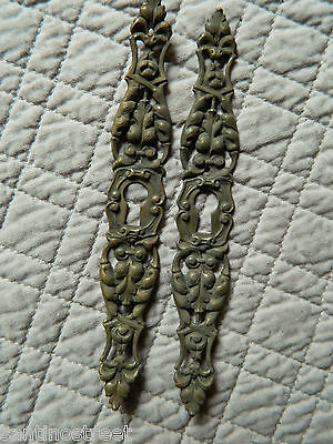 1800's Set Of 2 Furniture Escutcheons Keyhole Covers Acanthus Leaf Louis Xv #2
