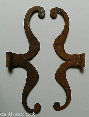 Gorgeous Antique Pair Of Moustache  Window Hinges France Wrought Iron #1