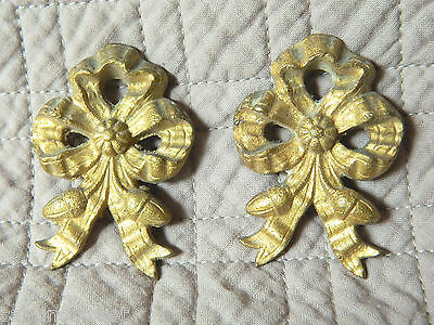 Antique Set Of 2 Gilded Bronze Knots Embrace Or Furniture Brackets  Louis Xvi