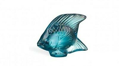 Lalique Crystal (Brand New) - Fish Figurine : Turquoise Lustre 10205600