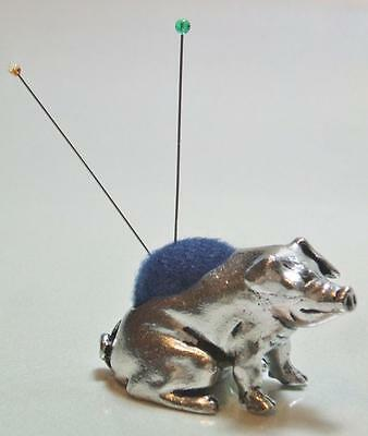Heirloom Pewter Pig Needles Pin Cushion Pincushion Collectible