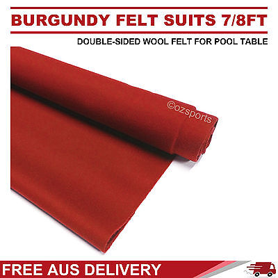 Burgundy Double-Sided Wool Pool Snooker Table Cloth Felt Suits 7Ft 8Ft Free Post