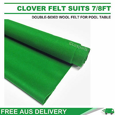 Clover Double-Sided Wool Pool Snooker Table Cloth Felt Suits 7Ft 8Ft  Free Post