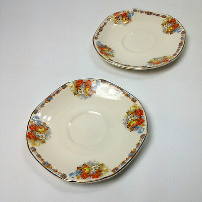 2  x VINTAGE JOHN MADDOCK & SONS SAUCERS Made in England Ivory Ware