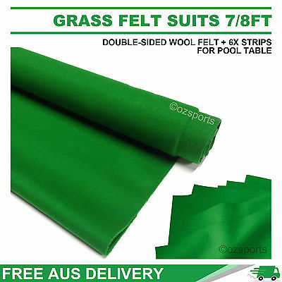 Grass Double-Sided Wool Pool Snooker Table Cloth + 6X Felt Strips Suit 7Ft 8Ft