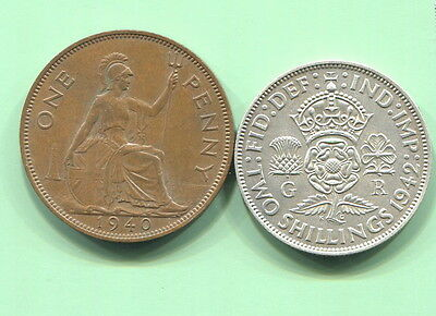 Great Britain- 2 Beautiful George Vi Coins, 1940 Penny & 1942 Silver 2 Shillings