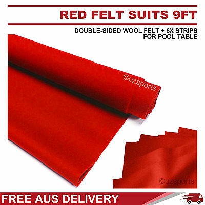 Red Double-Sided Wool Pool Snooker Table Cloth + 6X Felt Strips Suits 9Ft