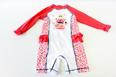 Baby Girl Rash Suit UPF 50+ Onepiece Costume Size 00 to 2 yrs Red & White NEW