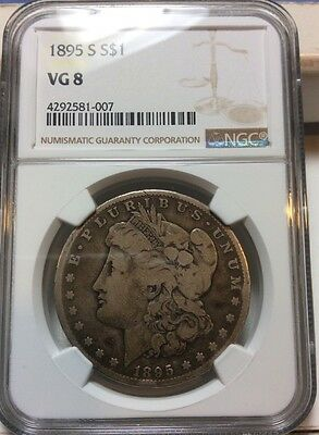 1895-S Morgan Silver Dollar - NGC Graded VG-8 Very Good Key Date Original Coin