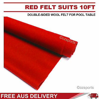 Red Double-Sided Wool Pool Snooker Table Cloth Suit 10Ft Billiard Table