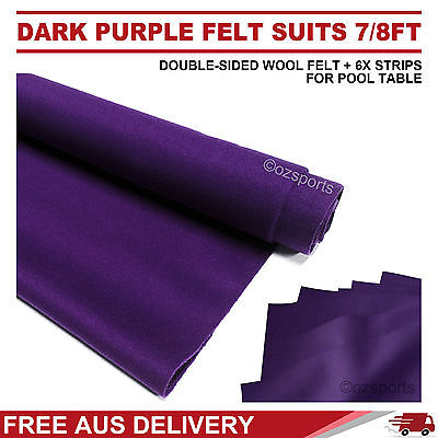 Dark Purple Wool Pool Snooker Table Cloth 6X Felt Strips Suits 7Ft 8Ft Free