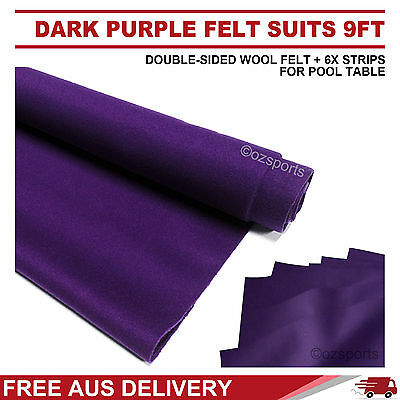 Dark Purple Wool Pool Snooker Table Cloth 6X Felt Strips Suits 9Ft Free Post