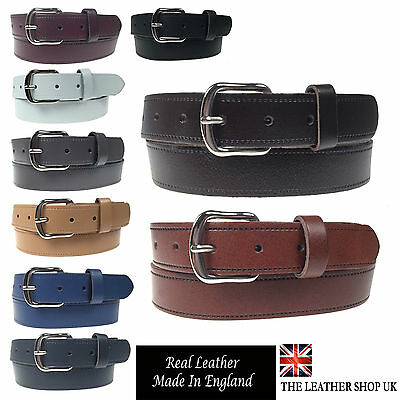 """New Quality Mens Womens 1.25"""" Wide Real Leather 30mm Made In UK Belt B101-20"""