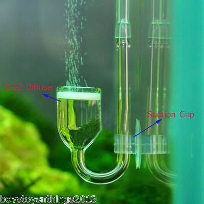 CO2 Nano Glass Diffuser For Plant Aquarium Skimmer Tank Suction Cup. UK SELLER
