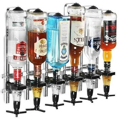 6 Bottle Wall Bracket for optics with 25ml measures Spirit Drink Dispenser