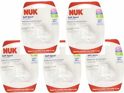 5 Packs of NUK Sippy Cup Bottle Soft Silicone Clear BPA Free Replacement Spouts