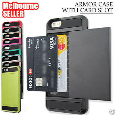 iPhone 6 6S 7 8 Plus X Shockproof Armor Card Case Cover Apple +Screen Protector