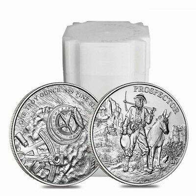 Roll of 20 - 1 oz Prospector Silver Round .999 Fine (Lot,Tube of 20)
