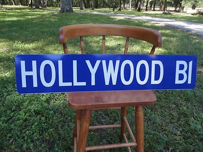 Hollywood Blvd Real Reflective Street Sign Great for Man Cave - Bar
