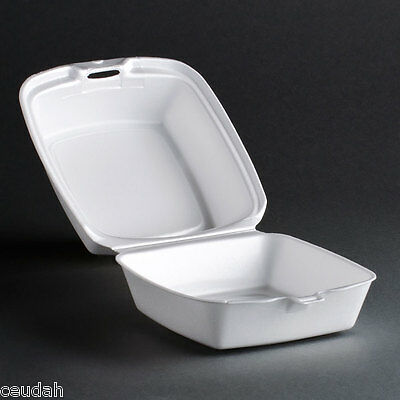 """(25) 6"""" Sandwich Container White FoamPak Hinged Lid Food Tray Take Out Party"""