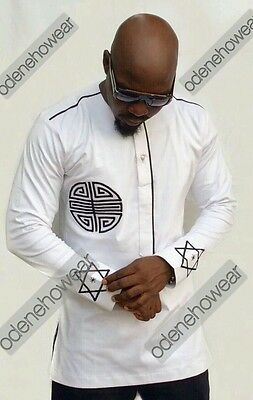 Odeneho Wear Men's White Polished Cotton/Black  Embroidery. African Clothing