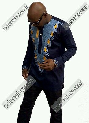 Odeneho Wear Men's Navy Polished Cotton Top/ Embroidery. African Clothing.