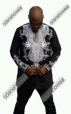 Odeneho Wear Men's Black Polished Cotton Top/White Embroidery. African Clothing.