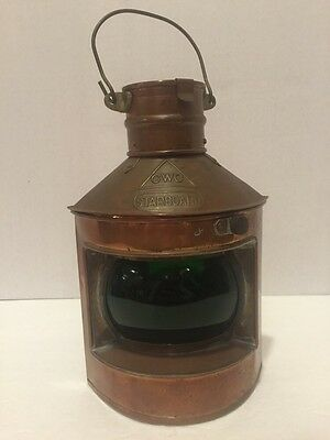 Antique Vintage CWC Copper Nautical Marine Boat Starboard Oil Lamp -Green Glass