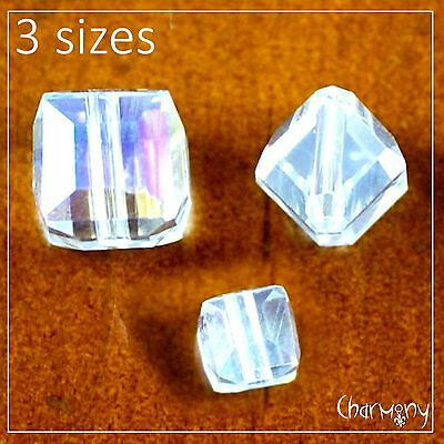 Crystal Cube Beads Clear AB ~PACK of 10~ in 3 sizes glass sparkling faceted