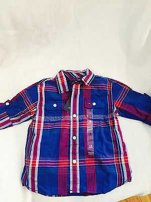 NWT, Boys Tommy Hilfiger Button Down Shirt Blue Checkered Size 18 M  $32.50