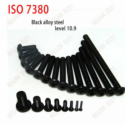 25/50/100x M3 Black Alloy Steel Allen Hex Socket Button Head Screw Bolt ISO7380
