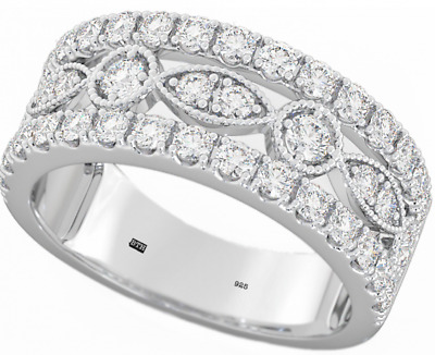 New Boxed 925 Sterling Silver Ladies Unique Wedding Engagement Band Ring