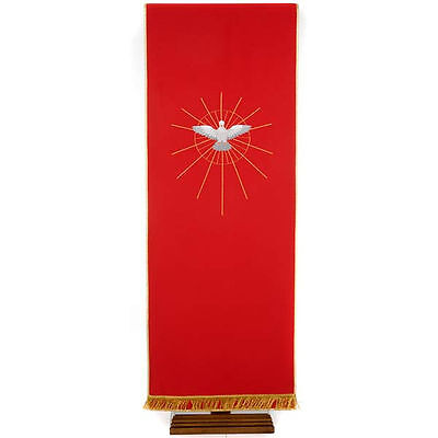 Lectern Cover, red, embroidered Holy Spirit and halo of rays