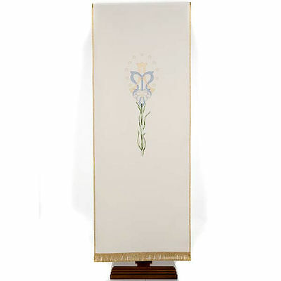 Lectern Cover, white, Marian symbol and lily